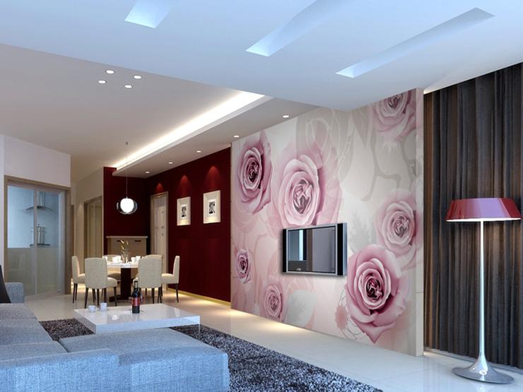 壁画 铿锵玫瑰 墙纸卧室电视背景墙纸大型壁画影视墙壁纸在