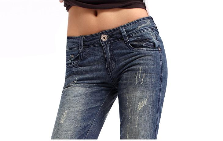 以纯 女装夏装 低腰女士七分牛仔裤