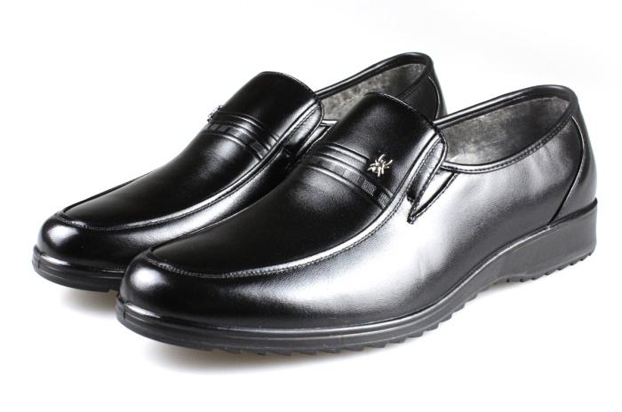 2012新款蜘蛛王男皮鞋真皮套脚保暖棉皮鞋622238黑色