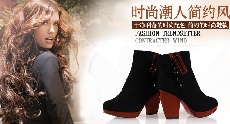红尔康2012冬季新款欧美粗跟女鞋高跟厚底磨砂靴子短