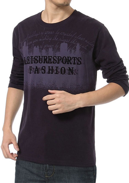 hanris Han Rui 2013 autumn new men's long-sleeved T-shirt men t-shirt big yards loose round neck T-shirt men's bottoming shirt L-530 Deep Purple L530 180 (loose version of the type)