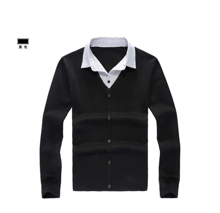 款 韩版休闲 针织男装外套 假两件修身男士毛衣95