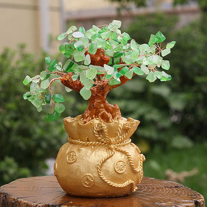 红锦添 钱袋天然水晶树摆件 招财树 发财树 摇钱树 中秋礼高清图片