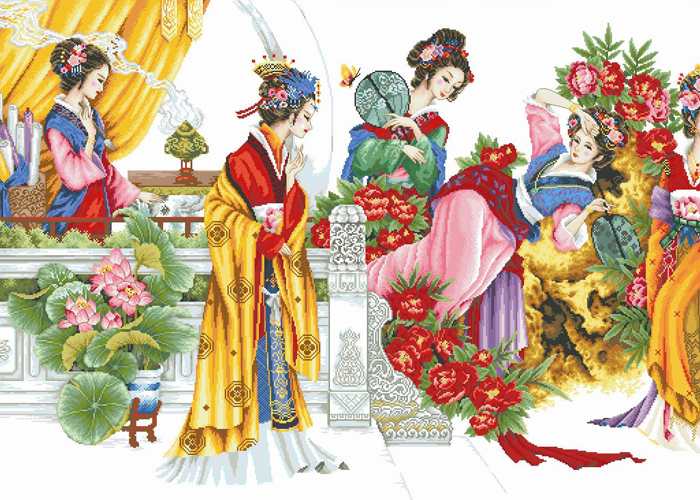 绣美人精准印布十字绣金陵十二金钗美女图 客厅酒店挂