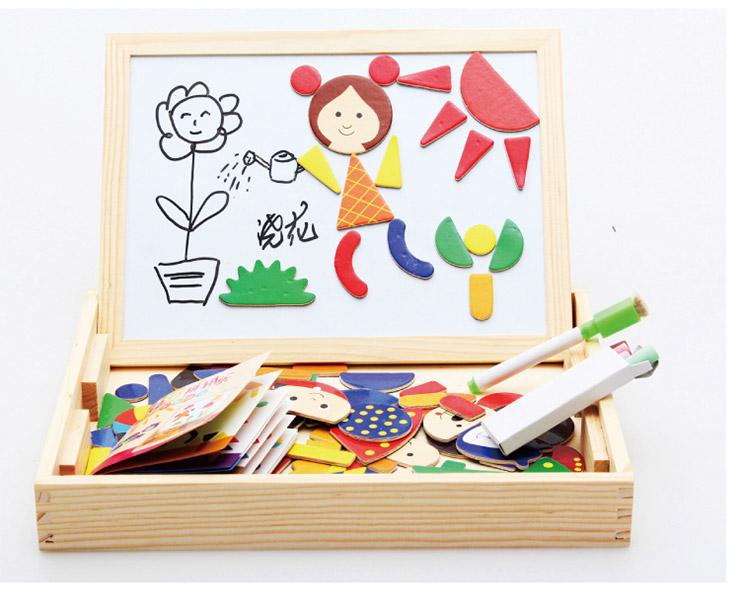 巧之木 磁性拼图拼拼乐木制画板写字板 儿童玩具 磁性拼拼乐