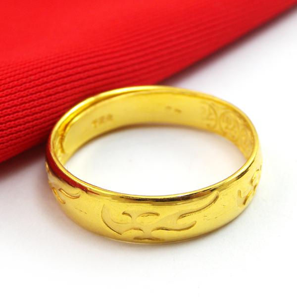 雅珠宝 24k999千足金戒指纯黄金戒指男-24k999 24k99 24k999黄金