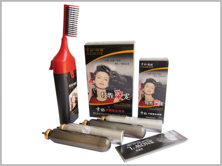 ...染发梳一梳黑魔发梳一洗黑泡沫魔法梳染发膏含4管染发剂4X50...