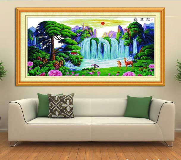 绣美人精准印图十字绣迎客松福禄版仙鹤 客厅装饰大幅挂画套件图片