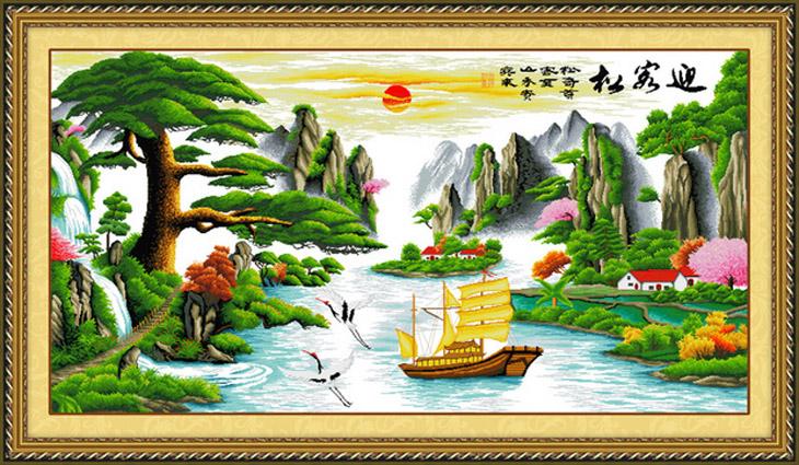 人精准数码印布十字绣迎客松财运版风景客厅挂画套件图片