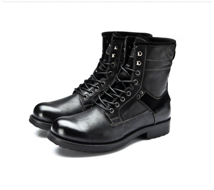 系带男靴牛皮大头鞋马丁鞋男士靴子中筒