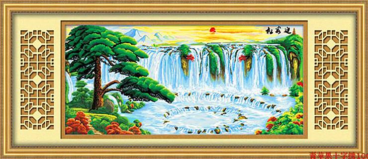 绣美人精准印布十字绣迎客松聚宝盆山水客厅大画图片