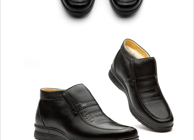 意尔康(yearcon)冬季款男士商务休闲真皮棉皮鞋