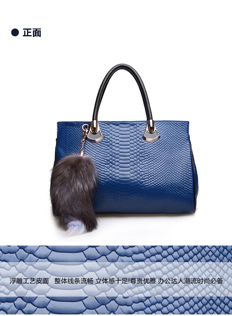 简佰格2012新款女包鳄鱼纹包包欧美复古兔毛手提