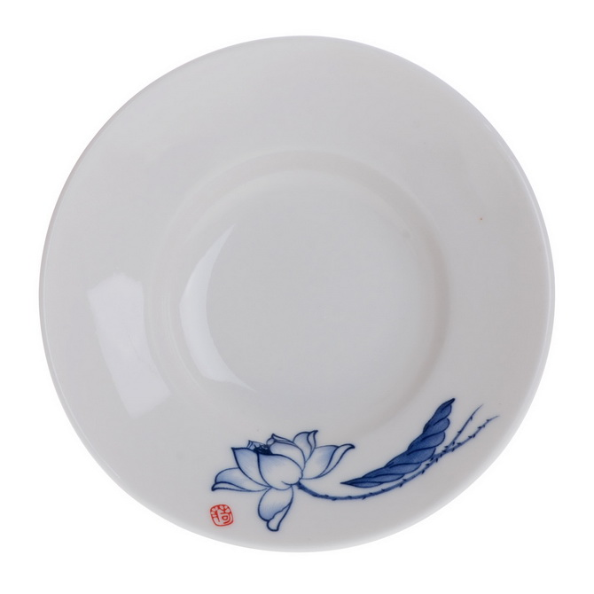 东茶西壶 陶瓷茶具三才碗盖杯釉下青花瓷4.2寸大号盖碗 荷韵