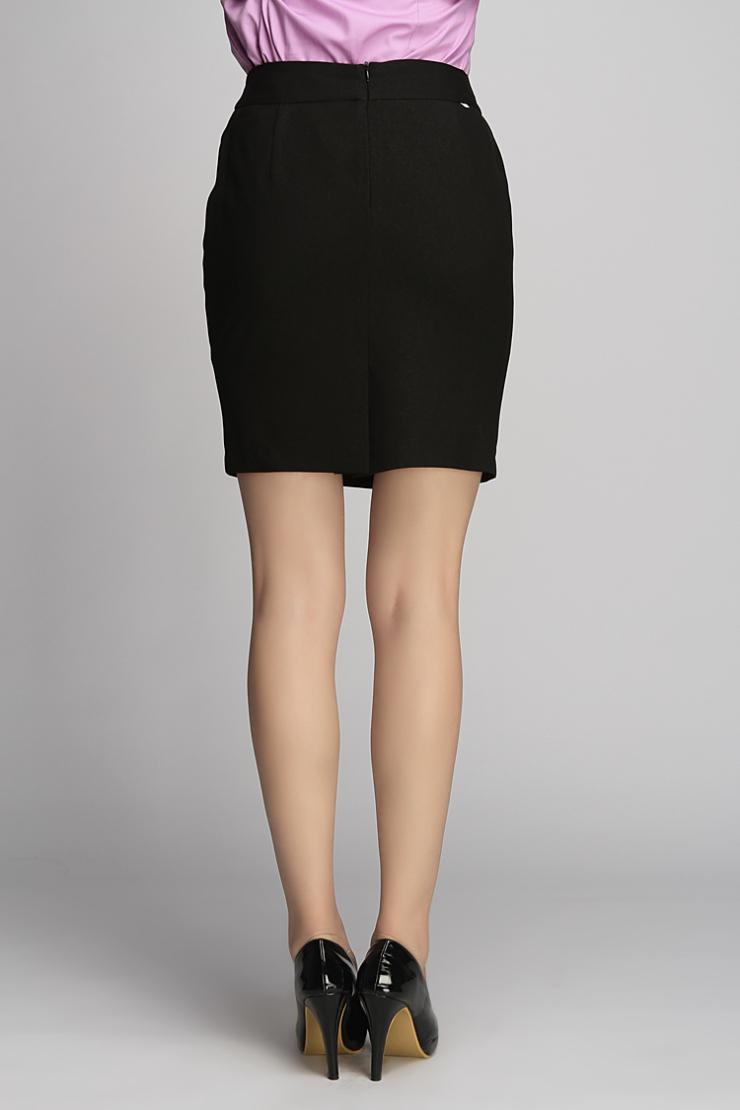 2012夏装女士短袖1扣色丁拼接套裙(活力黑)