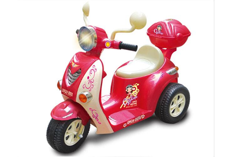 群兴儿童电动车女式带音乐三轮摩托车 可进退