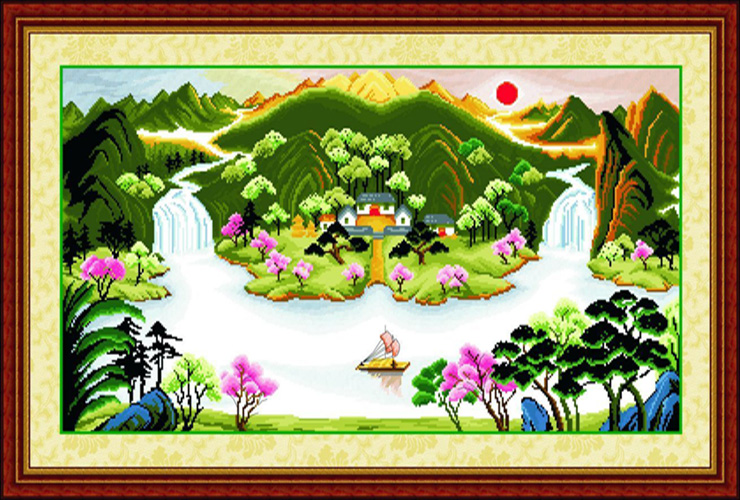 绣美人十字绣金玉满堂二大版山水风景客厅大画财源滚滚 图案印好在布图片