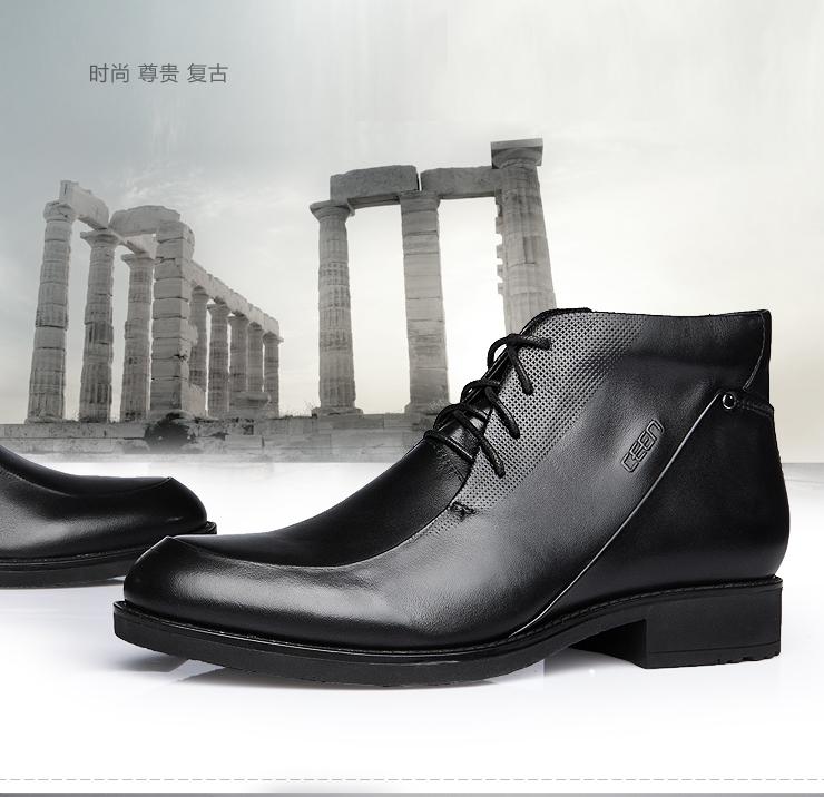 时尚尊贵复古英伦男士商务高帮皮靴