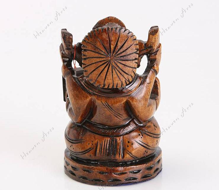 禾文阿思 印巴文化 木制印度象鼻财神摆件 手工木雕佛像精...