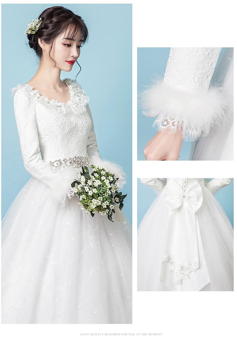 依纱妃娜冬季主轻婚纱2019新款新娘结婚保暖白色长袖 图片
