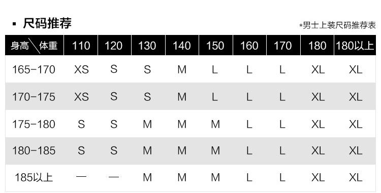 尺码推荐男士上装尺码推荐表身高\体重110120130140150160170180180以上165-170XSSLXLXL170-175 XS SS M LL XL义L175-180S180-185 SS MM MLL X义L185以上M-推好价   品质生活 精选好价