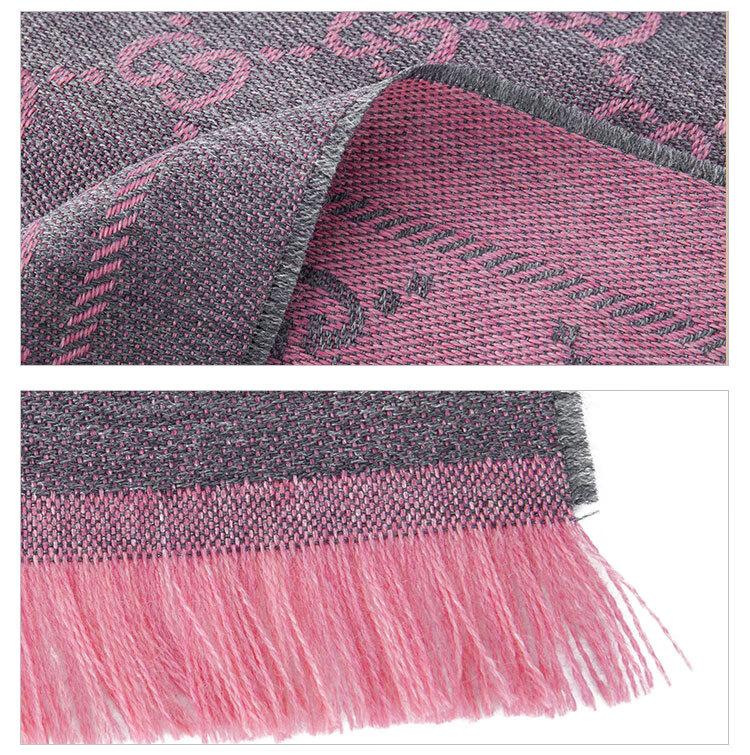 高仿原单GUCCI 古驰围巾 女士双G提花流苏边针织羊毛围巾 粉色拼色 133483 3G200 1272(图10)