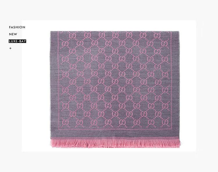 高仿原单GUCCI 古驰围巾 女士双G提花流苏边针织羊毛围巾 粉色拼色 133483 3G200 1272(图1)