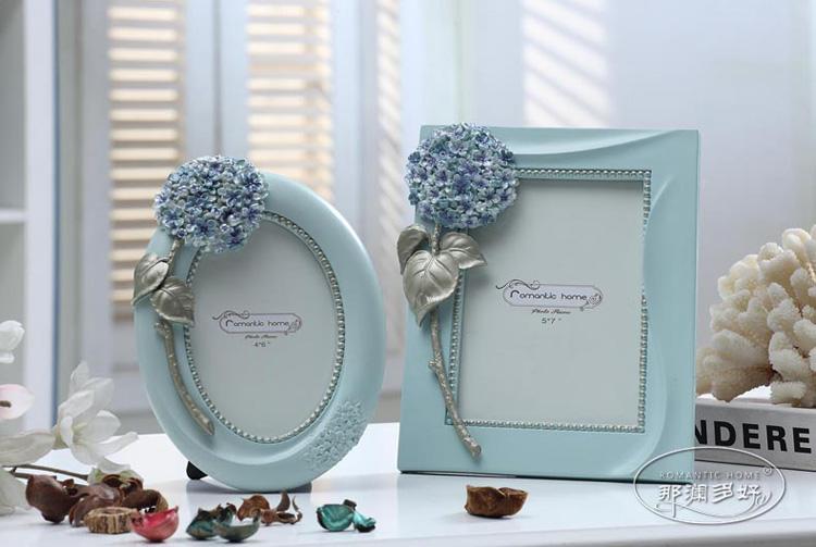 那澜多好 欧式田园韩式公主房婚庆结婚送礼婚照紫阳花树脂6寸相框 A款紫阳椭圆相框