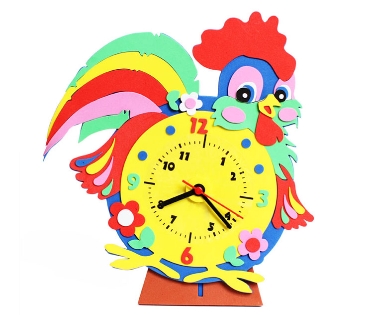 六一礼物幼儿园diy手工制作儿童钟表闹钟材料包 创意卡通时钟认识时间