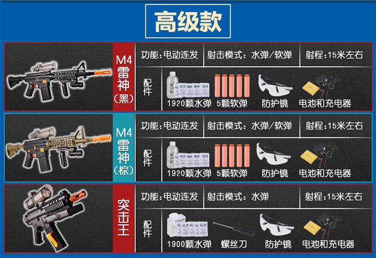 儿童电动玩具枪连发狙击枪巴雷特加特林可发射子弹软弹男孩水弹枪 战