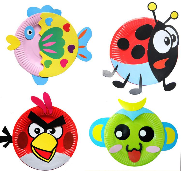 纸盘材料包 幼儿园美劳创意包 儿童diy手工制作彩色盘子粘贴吊饰 鱼
