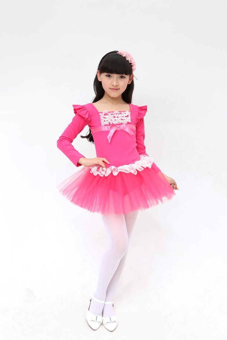 休闲家居服饰显瘦六一儿童舞蹈服女童芭蕾舞裙舞蹈比赛考级服装长袖