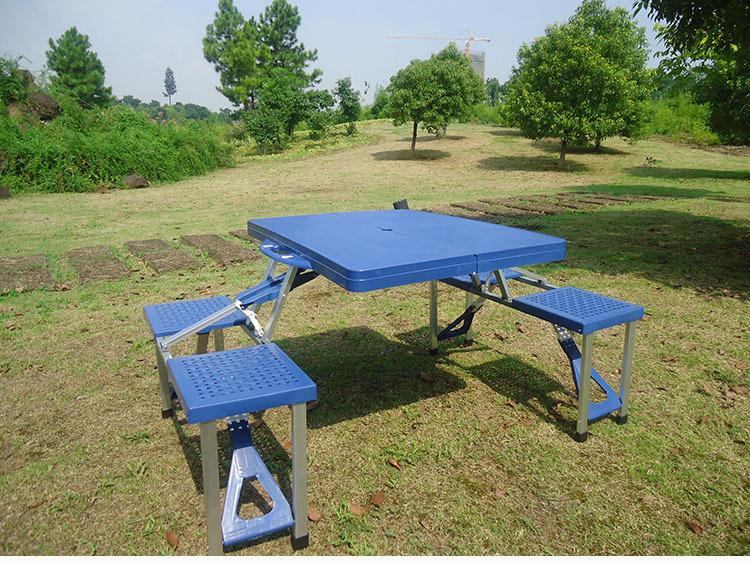 潮流户外野营野炊自驾游房车必备塑料折叠桌椅塑料折叠桌椅连体加厚ab图片