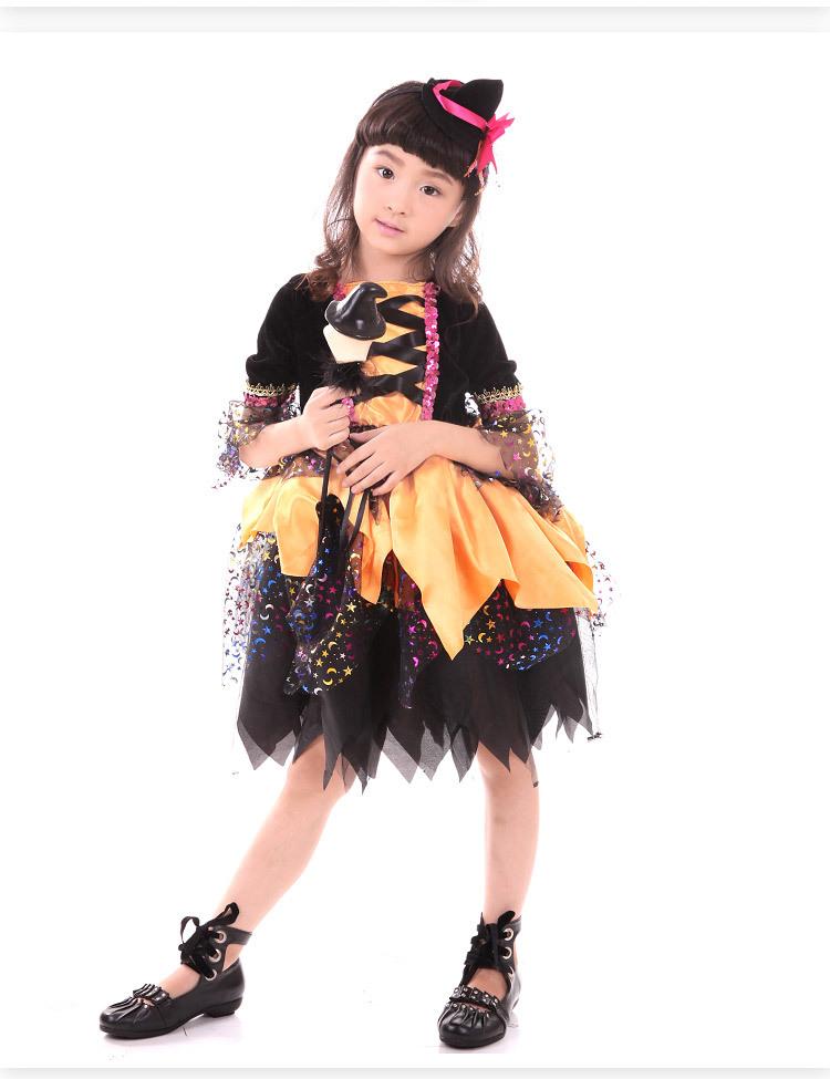 时尚休闲 万圣节卡通人物服装女童趣味巫婆服装儿童演出舞台表演服装