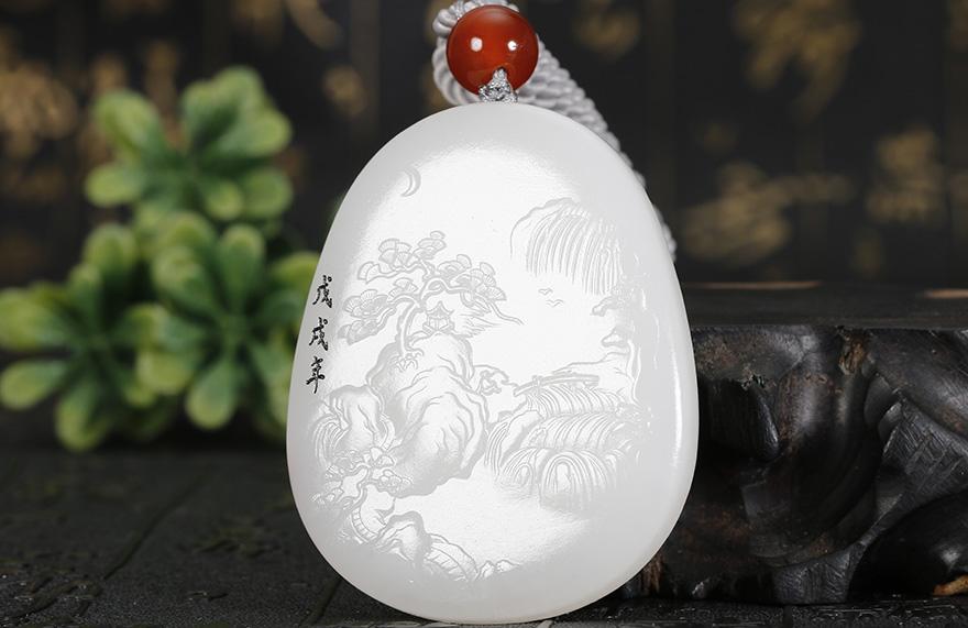 【实物已检】中国玉雕大师杨子作品 和田玉羊脂白玉风景挂件 63克 千