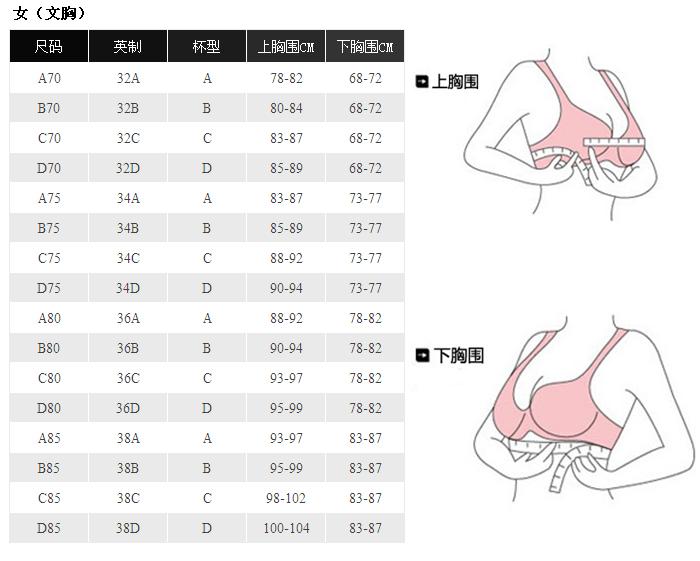 文胸尺码:内衣尺寸怎么量