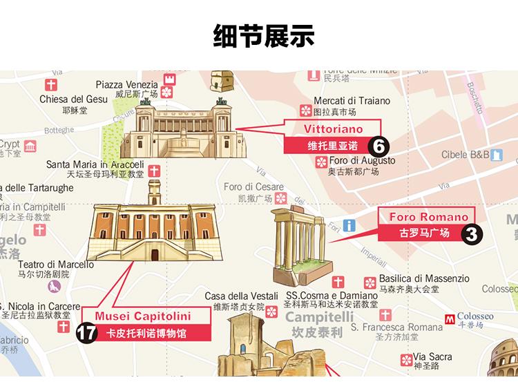 2018年 罗马旅游地图 中英文对照 行前规划 扫码听中文语音讲解