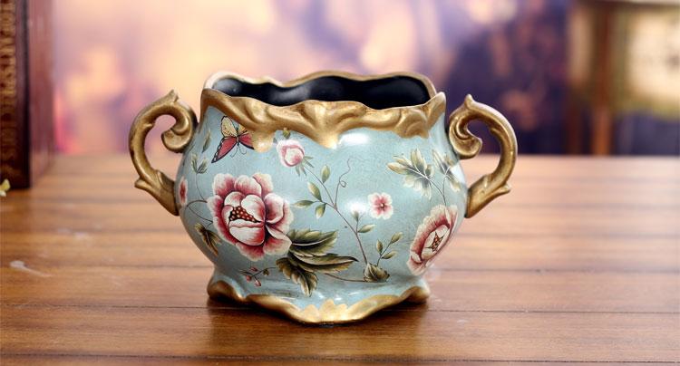 欧式摆件家居饰品时尚创意装饰品客厅摆设花瓶工艺品蓝色蝶恋花双耳矮