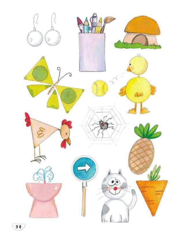 鸡是半圆形 猫是圆形:8种几何图形的创意简笔画