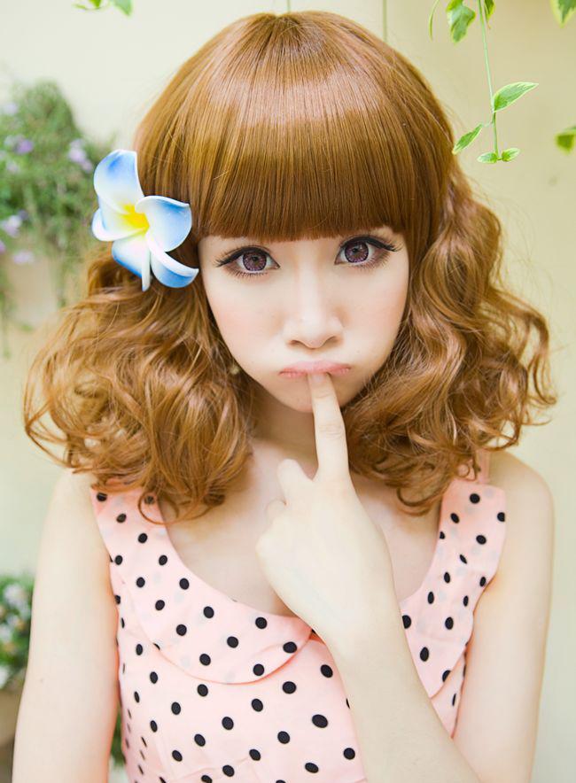 日系假发 短卷梨花假发 蛋卷发 中长发女生假发 亚麻色