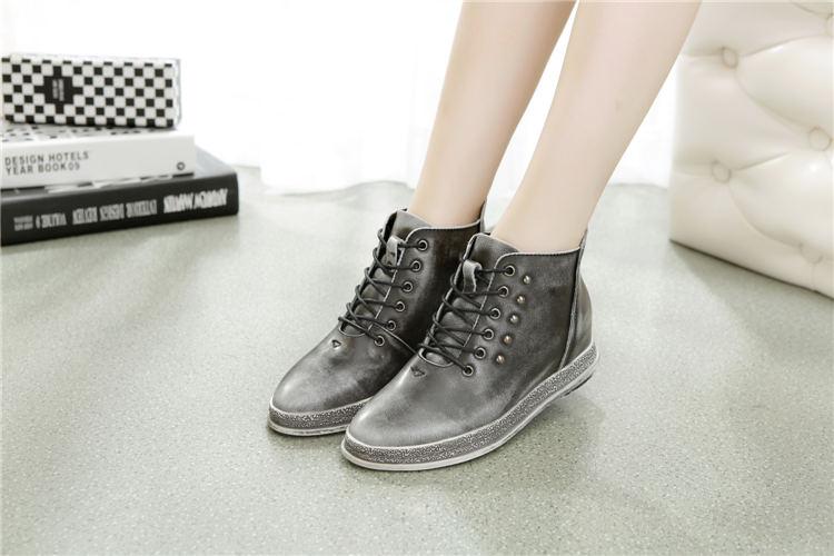 浒牌女棉鞋冬季平底保暖真皮短靴女款女鞋系带中跟英伦女靴高帮时尚旧