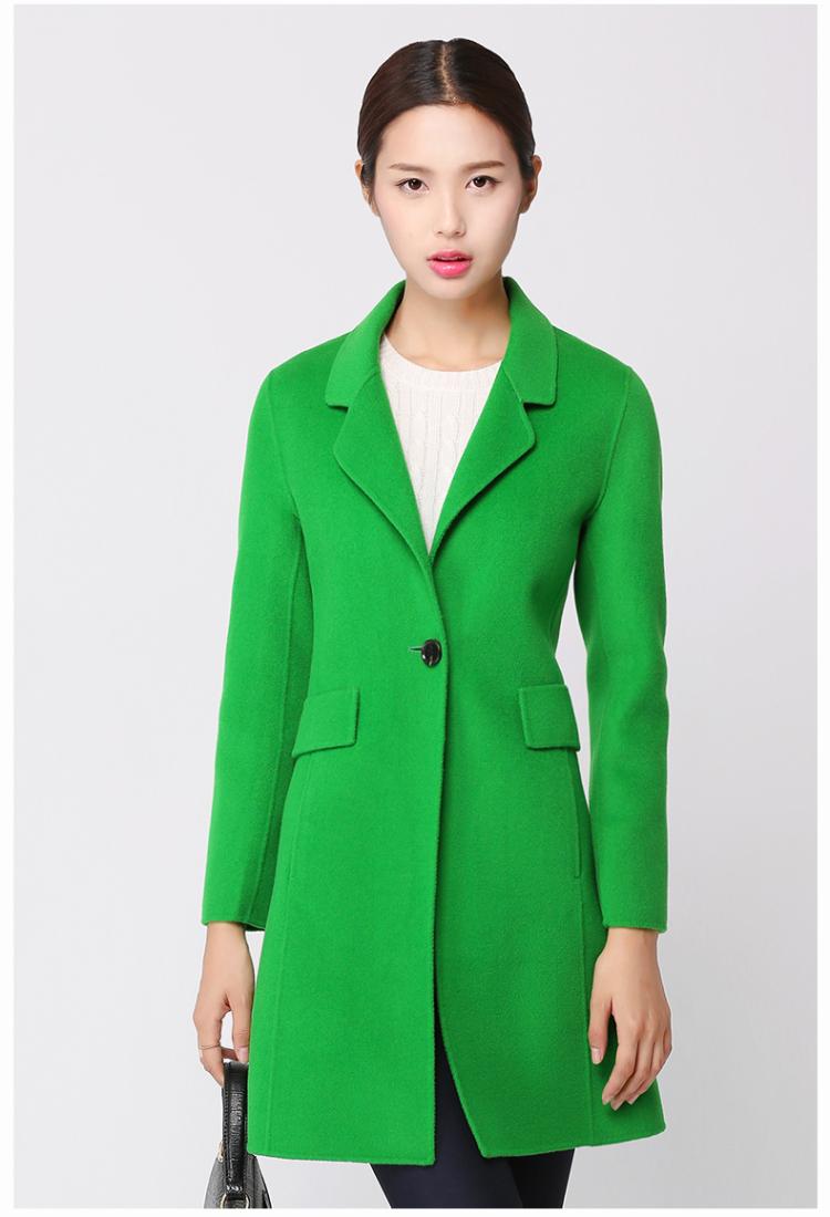双面呢羊毛大衣 秋冬新款手工双面绒大衣西装领中长款