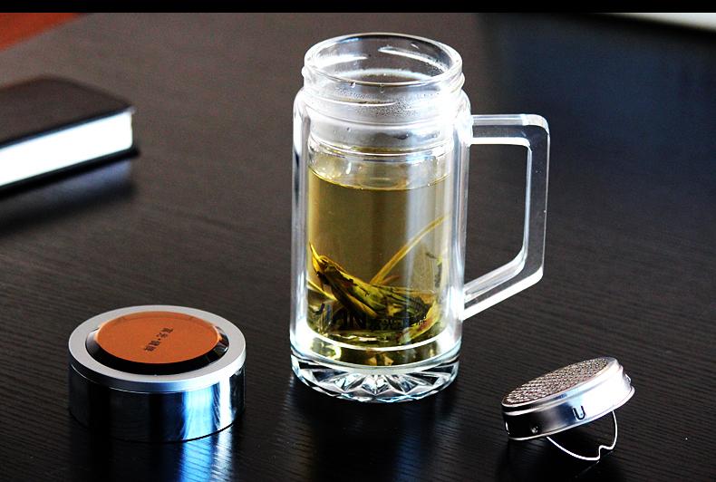 富光水晶玻璃杯带把手 加厚水晶底滤网男女士茶杯礼盒