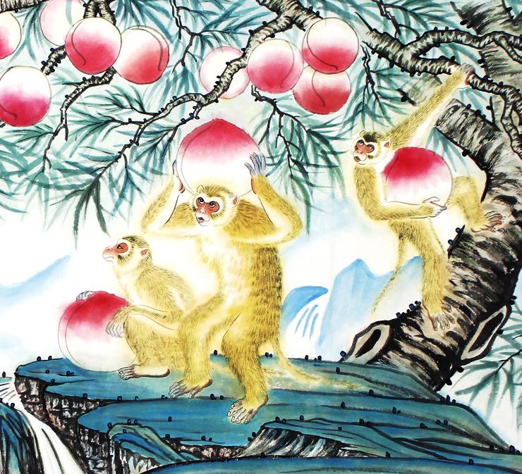 寓意:金猴献寿福禄广,瑶池仙桃硕果丰!画中金猴手捧寿桃祈福主人