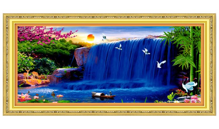 A KS十字绣正品专卖财运亨通十字绣2米财源滚滚大幅最新款山水客厅图片