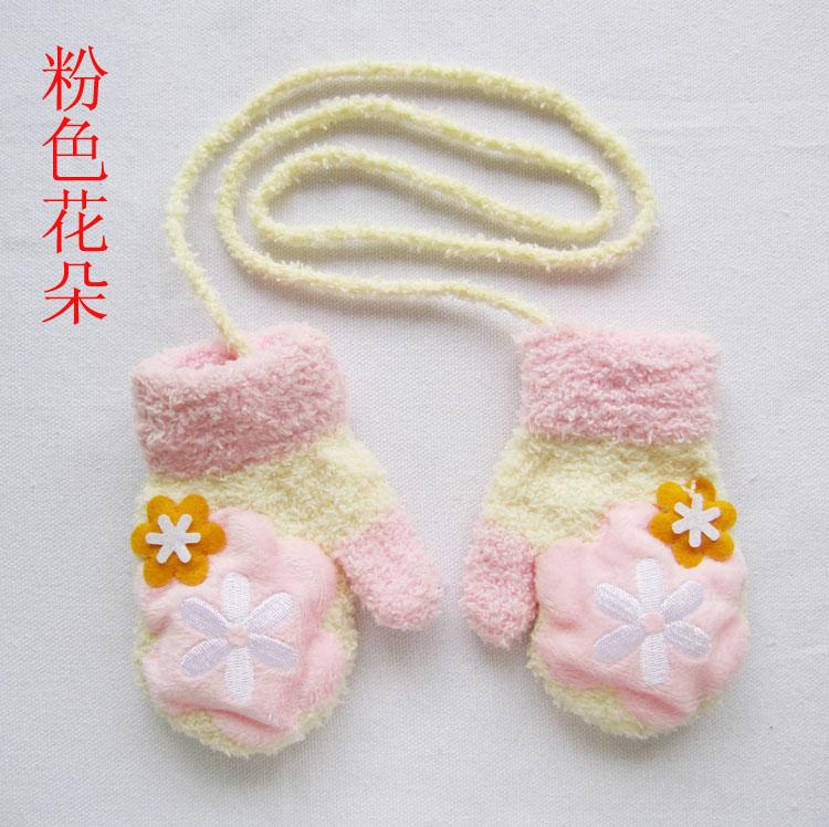 儿童珊瑚绒手套 韩版秋冬卡通保暖手套 宝宝全包指会叫手套 kt猫 均码