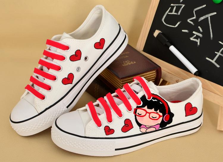 卜丁低帮系带帆布鞋 个性平底女鞋 涂鸦鞋子 手绘鞋 2014春款流行布鞋