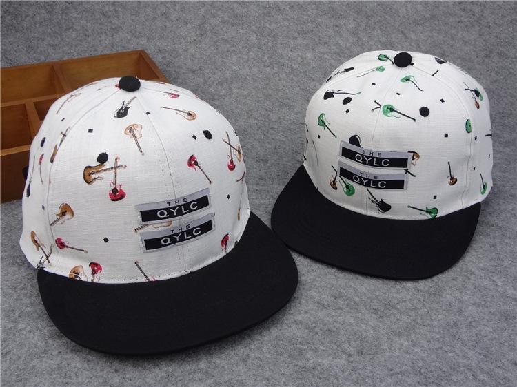 韩国新款贴布小提琴图案情侣嘻哈帽街舞帽滑板棒球街头潮男女帽子图片