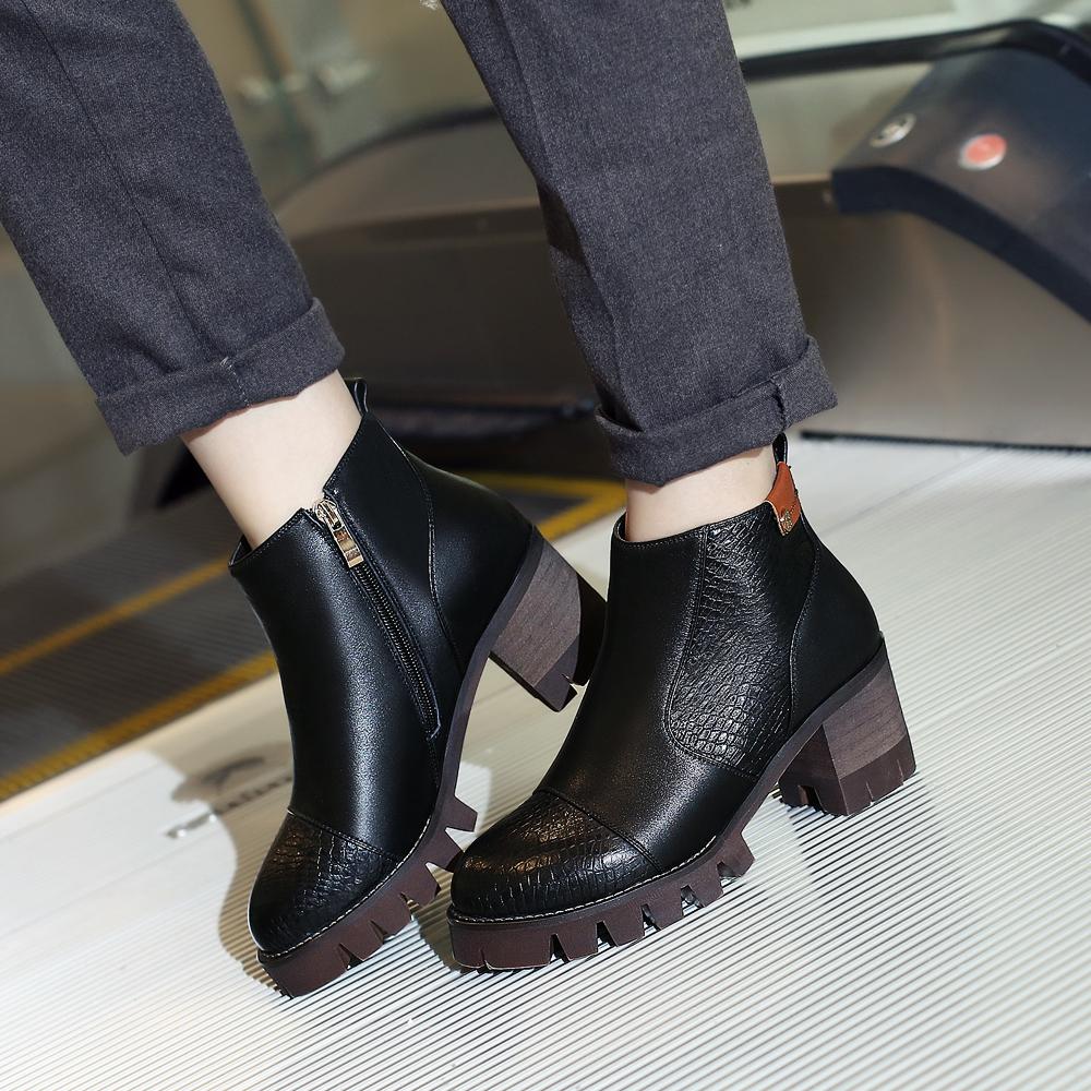 智琳2015秋冬真皮短靴欧美风格马丁靴蛇皮纹牛皮全皮裸靴圆头粗跟牛筋