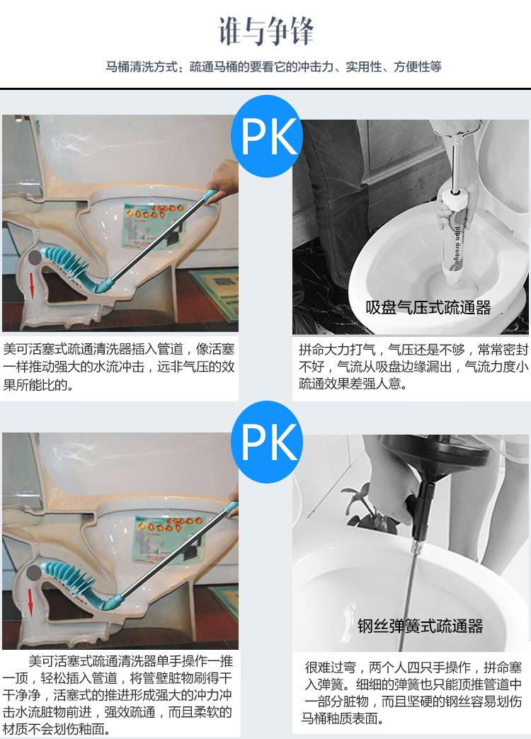 美可 创新活塞式马桶疏通器强效 厨房马桶厕所下水道管道疏通器工具图片